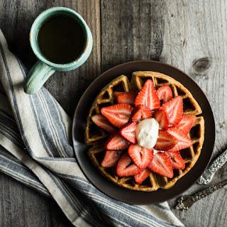 Strawberries and Cream Oat Flour Waffles.