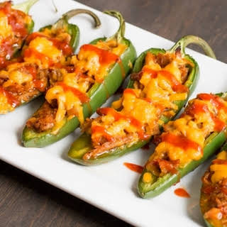 Pulled Pork-Sriracha Jalapeno Poppers.