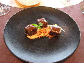 Photo: Beef cheeks on a nut sauce with a beef reduction topping.