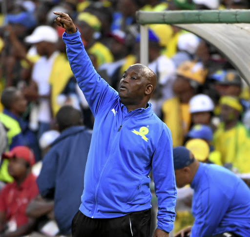 On the sideline: Sundowns coach Pitso Mosimane will have his hands full with the team during what promises to be a busy season. Picture: LEE WARREN/GALLO IMAGES
