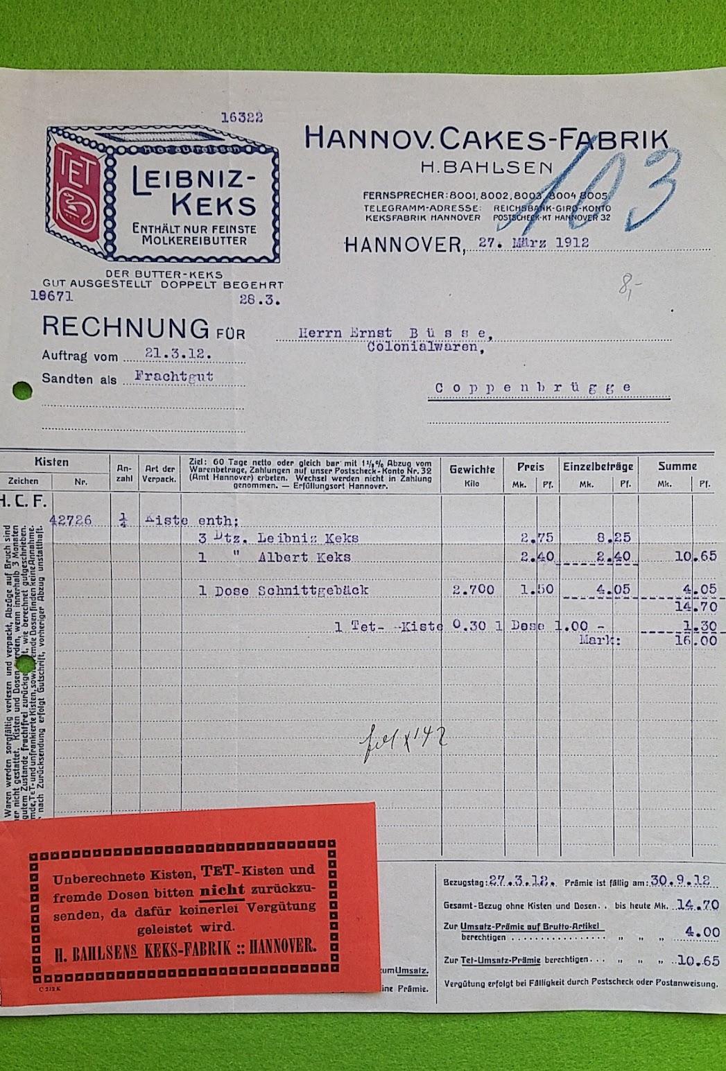 Rechnung mit ausgewiesenem Verpackungs-Pfand und Rücksende-Hinweisen, Bahlsen, 1912