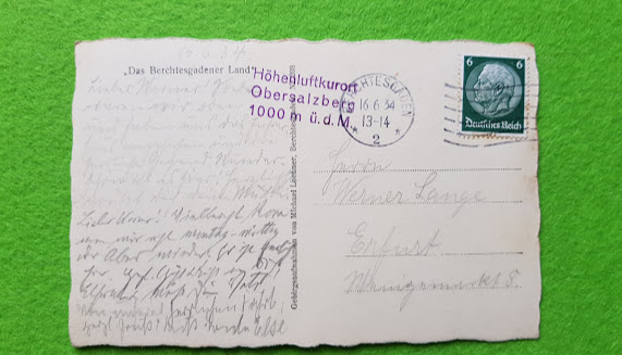 Postkarte vom Obersalzberg 16. Juni 1934