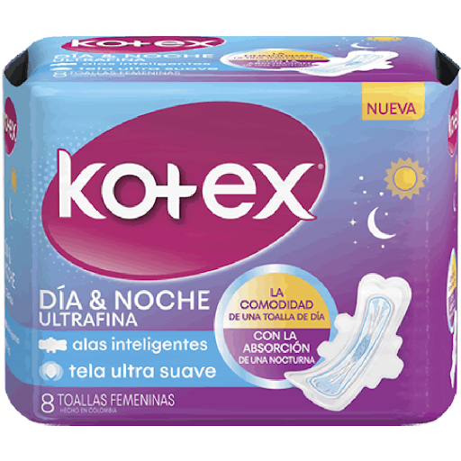 Toalla Sanitaria Kotex Ultrafina Día-Noche 8Unds  None