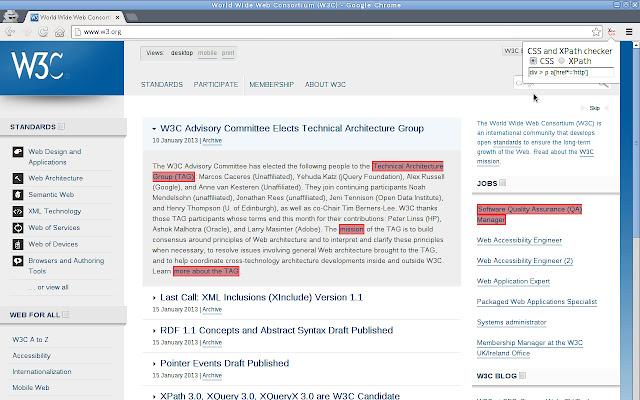 CSS and XPath checker