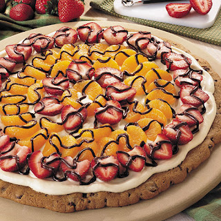 Fruit-Topped Triple Chocolate Pizza.