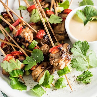 Mini Chicken Satay Skewers with Thai Peanut Dipping Sauce Recipe