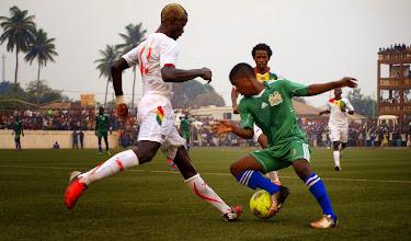 Photo: Santigie Koroma (CBF) on his debut for Sierra Leone U20 [versus Guinea in 2015 CAF U-20 first round qualifying (Picture: Myrthe van Vliet)]