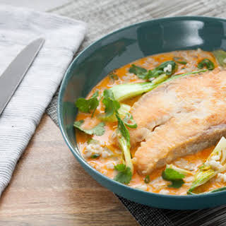 Coconut Curry Salmon Steaks with Celery & Bok Choy over Barley.