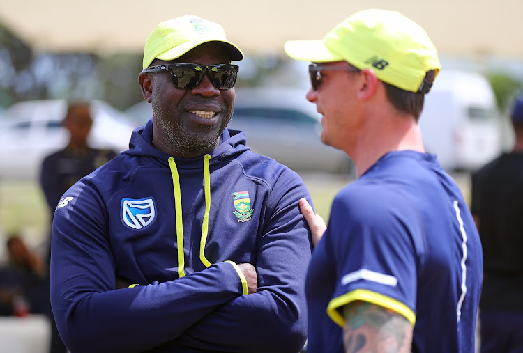 A file photo of Ottis Gibson, Proteas Coach (l) and Dale Steyn of South Africa (r) during the Audi Q5 Bowling Clinic, Bungalow, Cape Town on 19 October 2017.