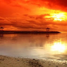Red Sky at the Morning by I Gusti Putu Purnama Jaya - Landscapes Weather