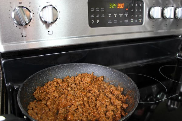 After browning and draining beef, add taco seasoning mix, continue as directed on taco...