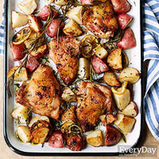 Lemon-Rosemary Roasted Chicken Thighs with Potatoes.