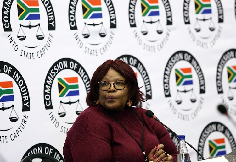 Vytjie Mentor at the Zondo commission in August. Her second appearance has been postponed to allow her the opportunity to testify on some issues that have arisen and been investigated since her first appearance.
