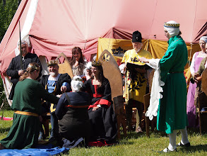 Photo: The baron and baroness of Aarnimetsä swear fealty (and promise ships at crown expense).