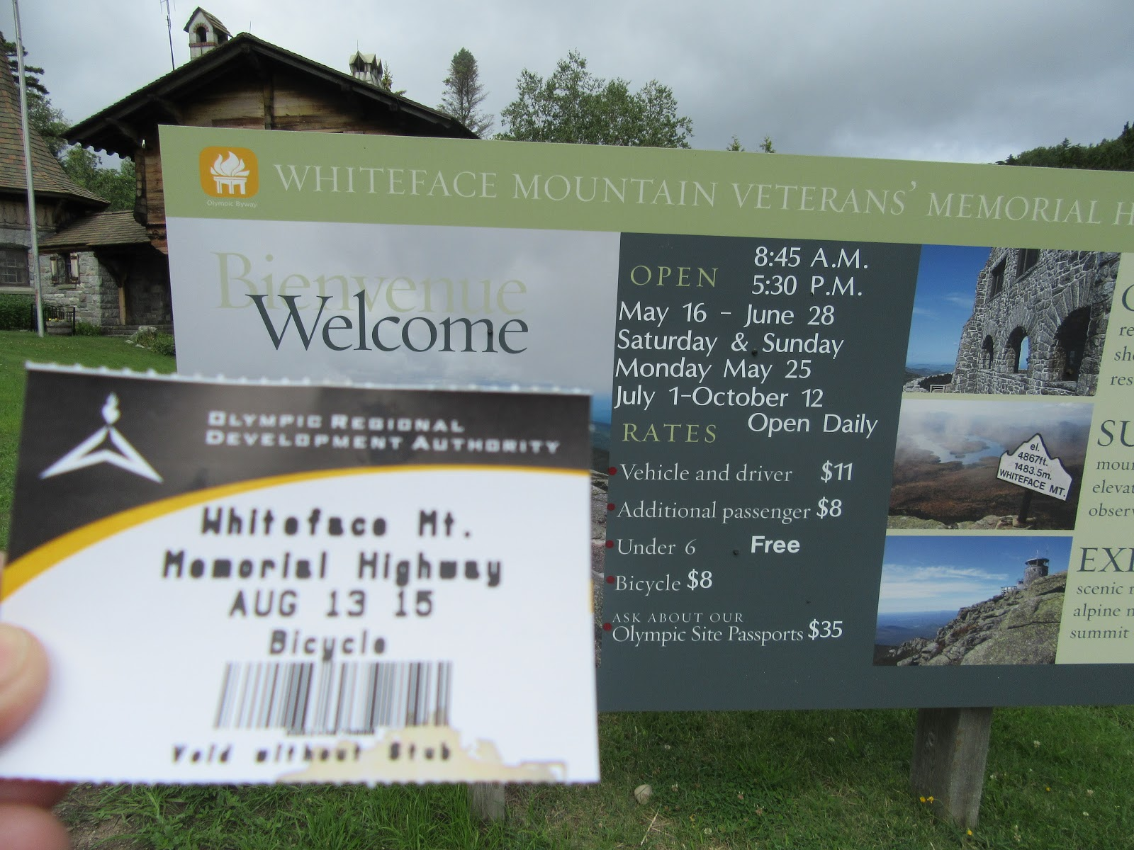 Ticket to enter Whiteface Memorial Highway by bicycle