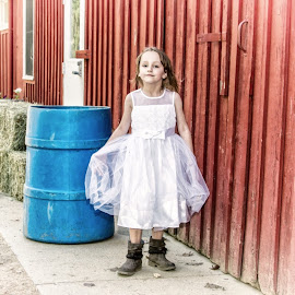 Flower Girl by Robin Seaholm - Babies & Children Children Candids ( red, dress, barrel, hay, white, blue, barn, boots, wedding, girl, flower )