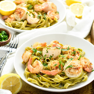 Sea Scallop and Shrimp Scampi with Spinach Tagliatelle