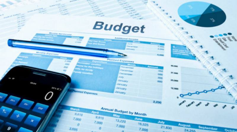 Image says budget with pictures of spreadsheets, calculator and pen