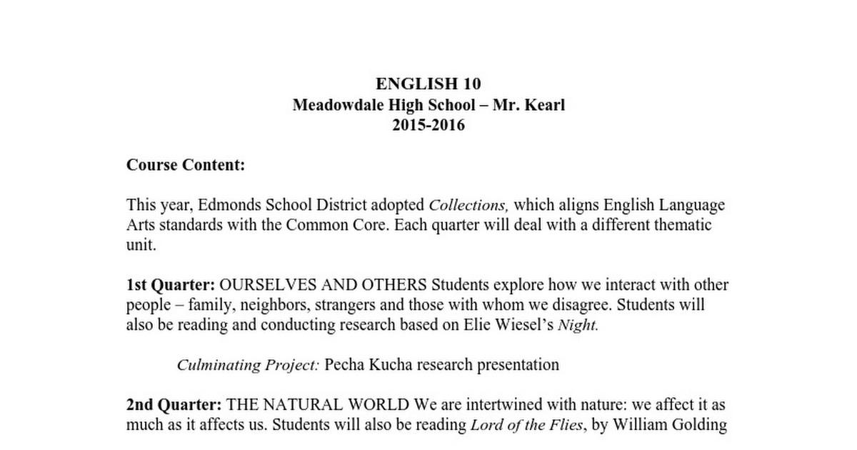 meadowdale high school th grade syllabus google docs