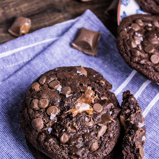 Double Chocolate Chip Salted Caramel Cookies