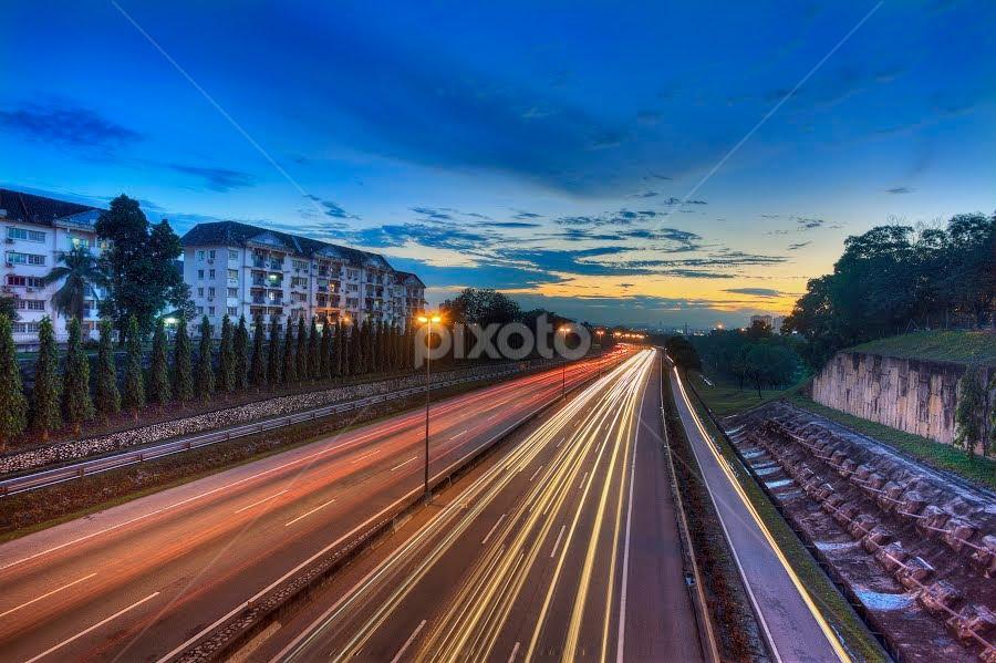 Final Light by Muhammad Hafiz - City,  Street & Park  Vistas ( light trail, hdr, blue hour, sunset, malaysia )