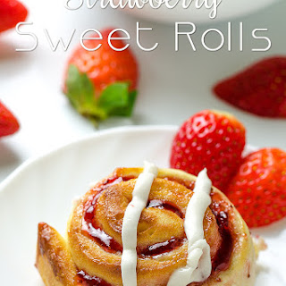 Strawberry Sweet Rolls with Vanilla Cream Cheese Glaze.