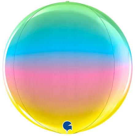 Folieballong Globe - rainbow, 38 cm