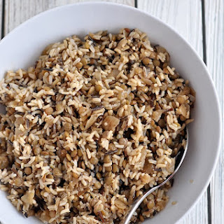 Wild Rice Lentils and Caramelized Onions.