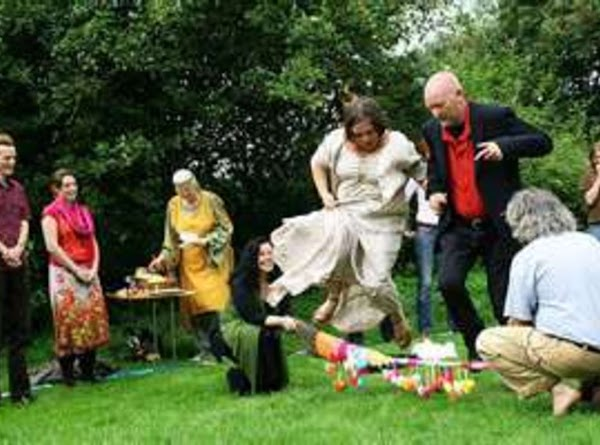 'To marry over the broomstick'. 'jump the besom', was an old-time form of irregular...