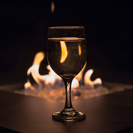 Wine by the Fire by Jeff Cottingham - Artistic Objects Cups, Plates & Utensils ( wine glass, refraction, fire, firepit, wine )