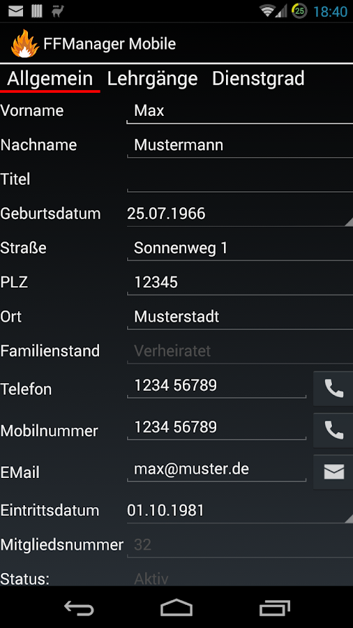 FFManager Mobile – Screenshot