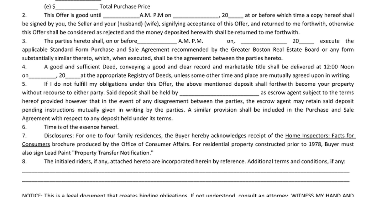 offerletter2doc Google Docs – Offer to Purchase Real Estate Form
