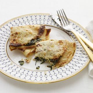 Creamed Spinach Filled Crepes Baked with Cheese
