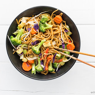 Gluten-Free Chow Mein w/ Rainbow Veggies and Tofu