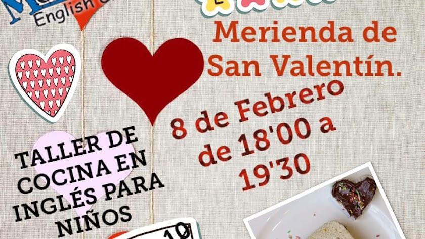 Cartel del Taller de Cocina San Valentín en Mortimer English Club Almería.