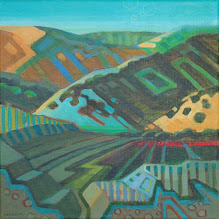 """Photo: """"Round Valley Reimagined"""", acrylic on linen 12"""" x 12"""", © Nancy Roberts"""