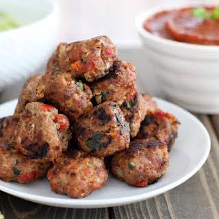 Sun-dried Tomato, Basil, And Mozzarella Turkey Meatballs With Zucchini Spaghetti.