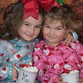 Hot Chocolate and Jammies by Sandra Hilton Wagner - Babies & Children Child Portraits ( love, young, bows, mugs, girls, sisters, portrait, holiday, christmas, cute, pajamas, children, family,  )
