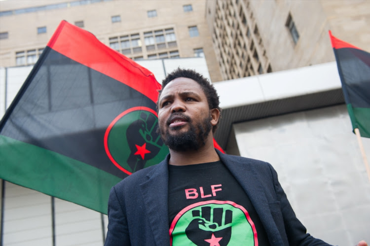 Black Land First (BLF) leader Andile Mngxitama at Ghandi Square on July 7 2017 in Johannesburg, South Africa.