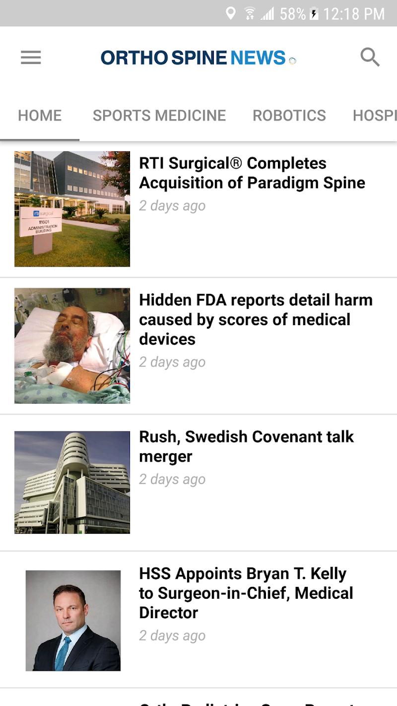 Скриншот OrthoSpineNews