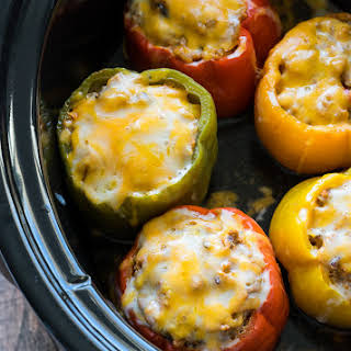 Slow Cooker Steakhouse Stuffed Peppers.
