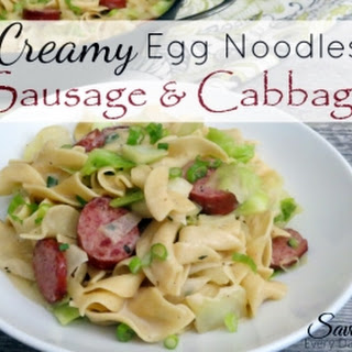 Creamy Egg Noodles, Cabbage & Smoked Sausage.