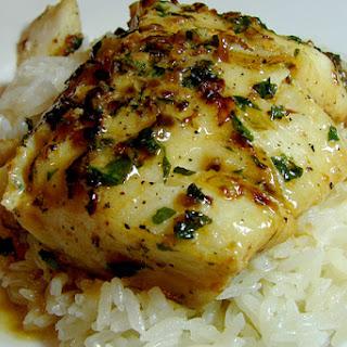 Cod in Creamy al Ajillo Sauce.
