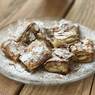 Bougatsa Greek custard cream pie with phyllo.