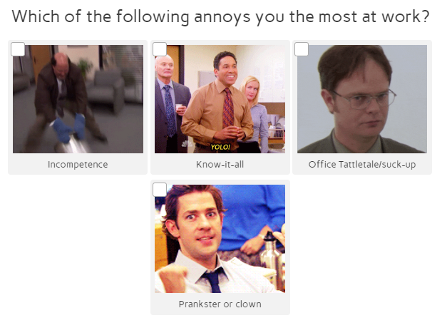 which annoys you at work quiz question with characters from The Office