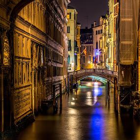 Quiet bridges on a wintery night by Hariharan Venkatakrishnan - City,  Street & Park  Night (  )