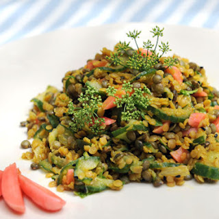 Two-Color Spicy Lentil Salad with Cucumber and Pickled Radish Recipe