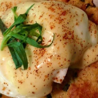 Savory Bacon and Crab Bread Pudding Eggs Benedict.