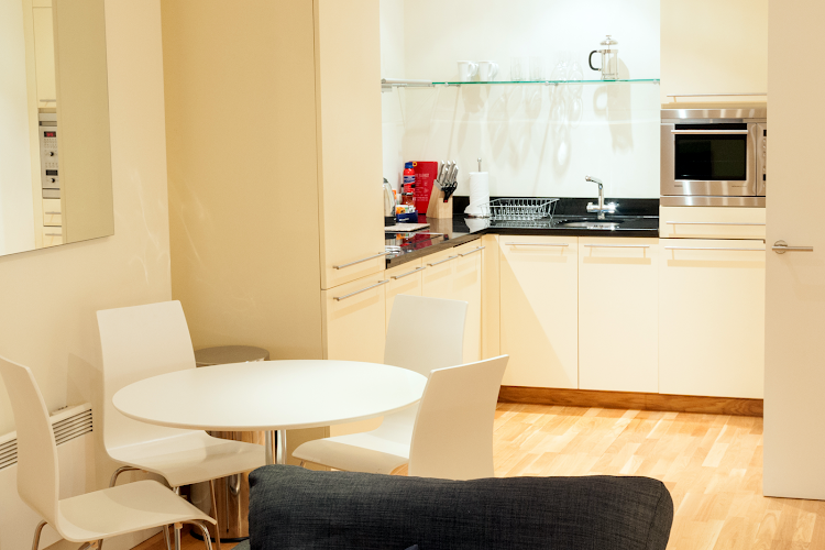 Fully equipped kitchen at Hosier Lane Apartments Barbican