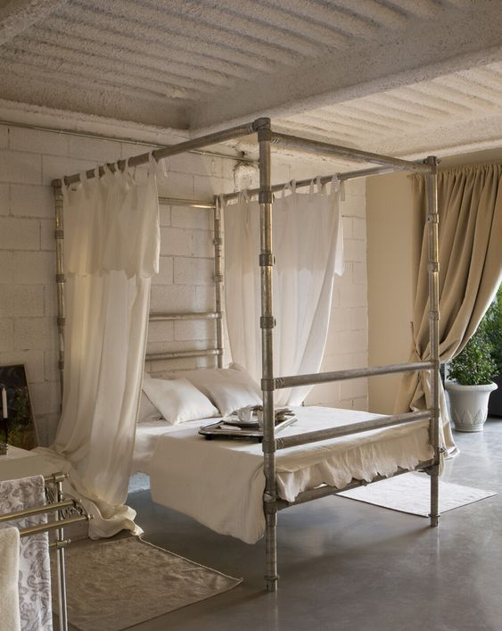 Bed Frame From Pipes Makes An Industrial Look